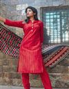 photo of Exclusive Cotton Fabric Red Color Fancy Salwar Suit
