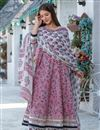 image of Exclusive Readymade Pink Color Hand Block Print Kurti With Dupatta