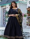 image of Exclusive Readymade Black Color Cotton Kurti With Chanderi Dupatta