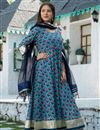 image of Exclusive Readymade Cyan Color Motif Print Kurti With Dupatta