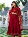 image of Exclusive Readymade Maroon Color Kurti With Dupatta