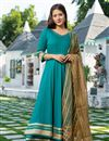 image of Exclusive Readymade Cyan Color Kurti With Dupatta
