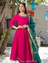 image of Exclusive Readymade Rani Color Kurti With Dupatta