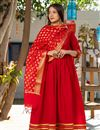 image of Exclusive Readymade Royal Red Color Kurti With Chanderi Dupatta