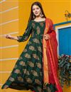 image of Exclusive Readymade Dark Green Color Kurti With Dupatta