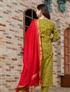 photo of Exclusive Readymade Green Color Floral Print Kurti With Dupatta