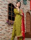 image of Exclusive Readymade Green Color Floral Print Kurti With Dupatta