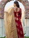 photo of Exclusive Maroon Color Hand Block Print Kurta Dupatta Set In Rayon Fabric