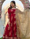 image of Exclusive Maroon Color Hand Block Print Kurta Dupatta Set In Rayon Fabric