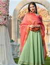 image of Exclusive Rayon Fabric Sea Green Color Kurta Dupatta Set