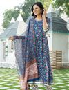 image of Exclusive Blue Color Kurta Set With Dupatta In Cotton Fabric