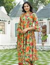 image of Exclusive Green Color Printed Kurta Set With Dupatta In Cotton Fabric