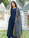 image of Exclusive Navy Blue Color Kurta Set With Bandej Dupatta In Rayon Fabric