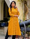 photo of Exclusive Cotton Fabric Printed Trendy Casual Wear Straight Cut Kurti In Mustard Color