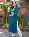photo of Exclusive Trendy Office Wear Straight Cut Kurti In Navy Blue Color Cotton Fabric