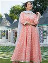 image of Exclusive Peach Color Plus Size Elegant Print Kurta Set With Dupatta
