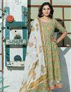 image of Exclusive Sea Green Color Plus Size Floral Hand Block Print Kurta Dupatta Set