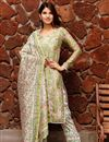 image of Exclusive Green Color Plus Size Block Print Chanderi Kurta Dupatta Set