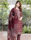 image of Exclusive Maroon Color Plus Size Bagru Hand Block Print Cotton Kurta Set With Chanderi Dupatta