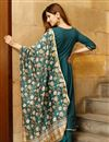 photo of Exclusive Teal Color Solid Flared Kurta Set With Hand Block Print Dupatta