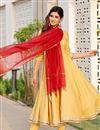 image of Exclusive Yellow Color Gota Flared Kurta Dupatta Set