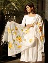 image of Exclusive Off White Color Flared Cotton Kurta Set With Hand Paint Dupatta