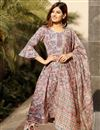 image of Exclusive Grey Color Floral Flared Cotton Hand Block Print Kurta With Dupatta