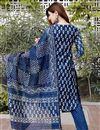 photo of Exclusive Blue Color Bagru Hand Block Print Kurta Set With Chanderi Dupatta