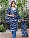 image of Exclusive Blue Color Bagru Hand Block Print Kurta Set With Chanderi Dupatta