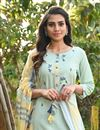 photo of Exclusive Casual Wear Light Cyan Color Cotton Fabric Readymade Salwar Suit