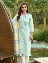 image of Exclusive Casual Wear Light Cyan Color Cotton Fabric Readymade Salwar Suit
