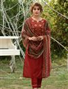 image of Exclusive Red Color Casual Wear Fancy Fabric Readymade Salwar Suit