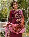 photo of Exclusive Casual Wear Fancy Fabric Readymade Salwar Suit In Maroon Color