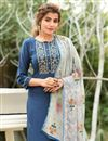 photo of Exclusive Fancy Fabric Casual Wear Navy Blue Color Readymade Salwar Suit