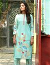 photo of Exclusive Casual Wear Sea Green Color Fancy Fabric Readymade Salwar Suit