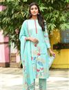 image of Exclusive Casual Wear Sea Green Color Fancy Fabric Readymade Salwar Suit