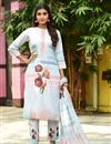 image of Exclusive Light Cyan Color Casual Wear Fancy Fabric Readymade Salwar Suit