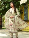 photo of Exclusive Cream Color Casual Wear Fancy Fabric Readymade Salwar Suit