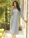 photo of Exclusive Cotton Fabric Casual Wear Light Cyan Color Kurti With Bottom