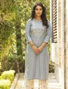 image of Exclusive Cotton Fabric Casual Wear Light Cyan Color Kurti With Bottom
