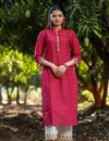 image of Exclusive Casual Wear Rani Color Cotton Fabric Kurti With Bottom