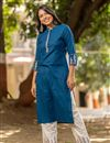 photo of Exclusive Casual Wear Cotton Fabric Kurti With Bottom In Teal Color