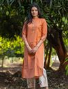 image of Exclusive Cotton Fabric Casual Wear Orange Color Kurti With Bottom