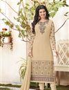 image of Soothing Cream Color Long Length Designer Salwar Kameez In Georgette Fabric