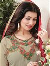 photo of Ravishing Beige Color Ayesha Takia Embroidered Salwar Kameez In Georgette Fabric