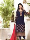 image of Charming Ayesha Takia Blue Color Designer Georgette Suit With Embroidery Work