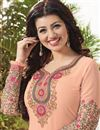 photo of Peach Color Long Length Ayesha Takia Georgette Salwar Kameez With Embroidery Work