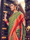 photo of Weaving Work Mehendi Green Color Wedding Wear Art Silk Fabric Saree