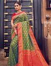 image of Weaving Work Mehendi Green Color Wedding Wear Art Silk Fabric Saree