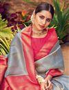 photo of Grey Color Art Silk Fabric Weaving Work Puja Wear Fancy Saree